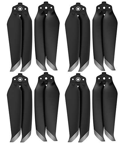 Mavic Air 2 Propellers Replacement, IRCtek 8Pcs 7238F Low-Noise Quick-Release Propellers Compatible with DJI Mavic Air 2 Drone (Black, Silvery Tip)