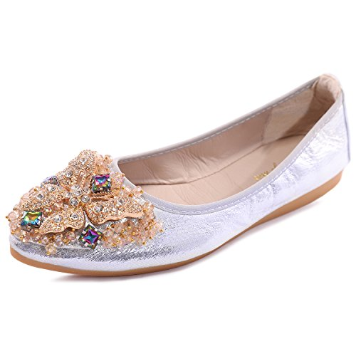 8a714a36418 Cattle Shop Womens Foldable Soft Ballet Flats Bling Rhinestone Comfort Slip  On Loafers Flat Shoes