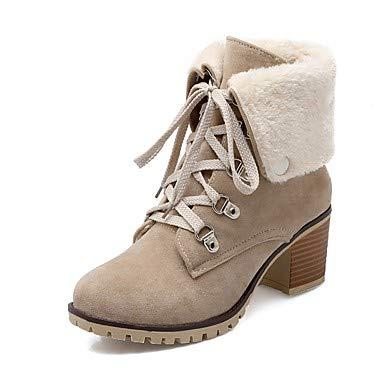NVXUEZIX Mujer Zapatos Aterciopelado Otoño Invierno Confort Botas Dedo Redondo con Cordón para Negro Beige Marrón Wine, us5 / eu35 / uk3 / cn34 XIUXIU