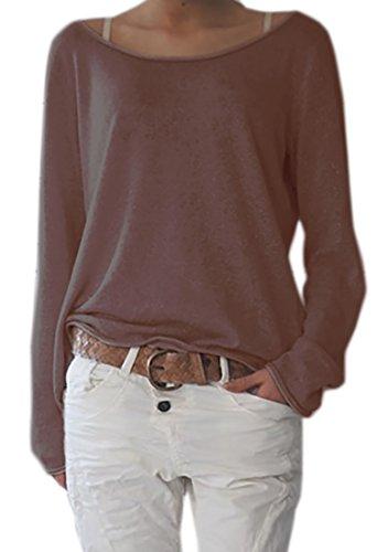 Femme Hauts Tops cou Sweater Cardigans unie Mikos Lace couleur Pulls Tricots FAZOOn1