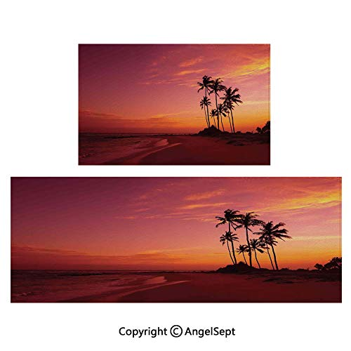 - Anti-Skid Shaggy Area Rug 2piece Suit,Exotic Beach Photo Over The Ocean Fantastic Hawaii Style Palm Trees at Sunrise Summer Wonderland Decorative 20
