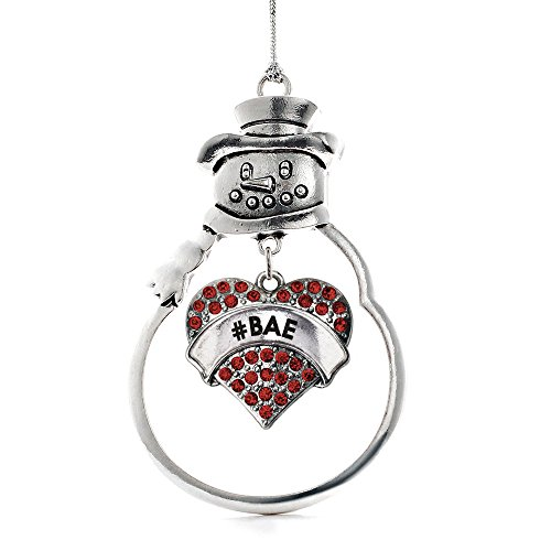 Inspired Silver - #BAE Red Candy Charm Ornament - Silver Pave Heart Charm Snowman Ornament with Cubic Zirconia Jewelry