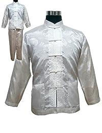 7de4e4223b Thadensama Vintage Navy Blue Chinese Men Satin Pajama Set Plus Size Xxxl Pyjamas  Suit Long Sleeve Shirt  Pants Trousers Sleepwear…