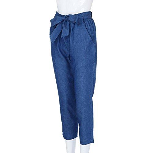 vaquero de damas cintura alta vendaje Women BaZhaHei Denim sexy Sexy de Wide Leg moda High Pants de pierna de de ancha Pantalón de mujer alta Azul pantalones 2 cintura Waist Pantalones Cowboy Fashion Casual p7w7xqf8zP
