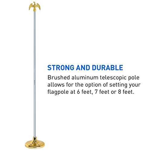 EasyGoProducts Telescoping Indoor Flag Pole Kit with Base Stand and Gold American Eagle Topper Ornament – Set at 6ft, 7ft or 8ft Height by EasyGoProducts (Image #3)
