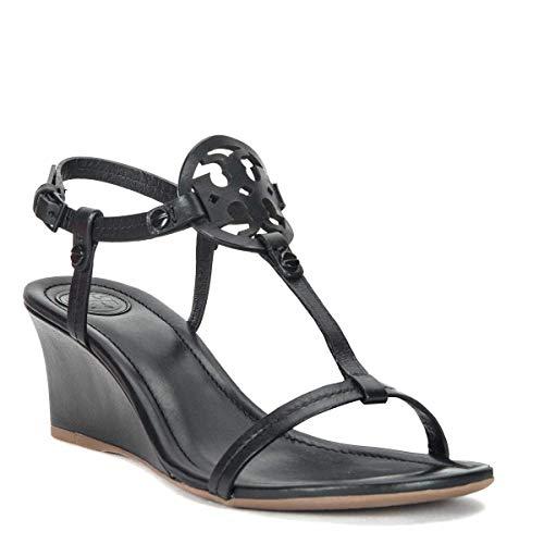 86614ab96e41 Tory Burch Miller Logo 60mm Black Leather Wedge Sandal