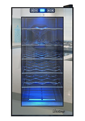 Vinotemp VT-18TSBM 18-Bottle Mirrored Thermoelectric Wine Cooler, Black ()