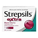 Strepsils, Extra Formula, Fast and Effective Relief for Sore Throats, Black Cherry, 24 Count