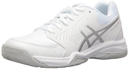 ASICS Women's Gel-Dedicate 5 Tennis Shoe, White/Silver, 8 M US