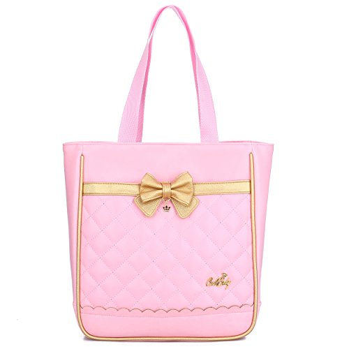 Waterproof Pu Leather Backpacks for Girls Cute Bowknot Kids Bookbags (Single Handbag, Pink) (Purse Bow Handbag)