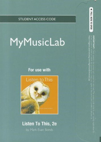 NEW MyMusicLab -- Standalone Access Card -- for Listen To This (2nd Edition) (MyMusicLab (Access Codes))
