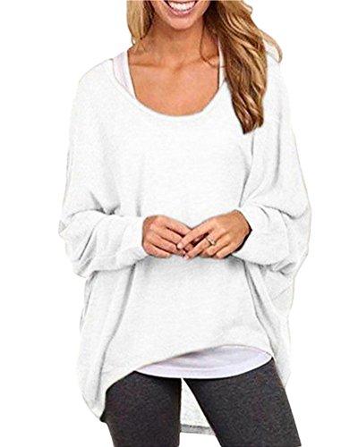 a Pipistrello Asimmetrico Maniche Donna a Camicia Pullover Bianco Oversize Camicetta Maglietta Camicetta Lunghe Sciolta 6RIqna