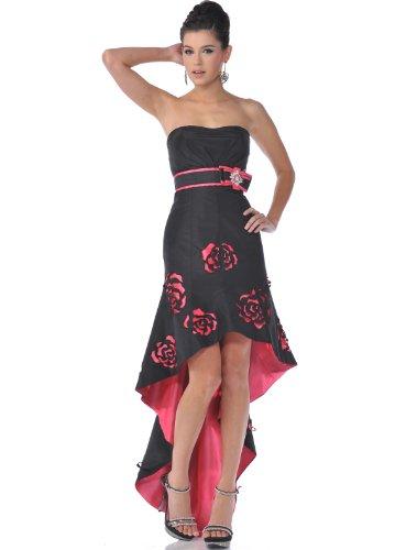 Sung Boutique Women's Strapless Rosette High Low Evening Dress 10 (Strapless Rosette)