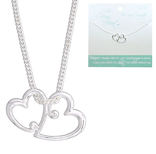 Double Heart Tag Necklace - 'A Caring Heart' Silver-Plated Double Hearts Necklace for Daughters on 18