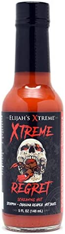 Elijah's Xtreme Regret Hot Sauce - Carolina Reaper and Trinidad Scorpion - The 2 Hottest Peppers in the Wo