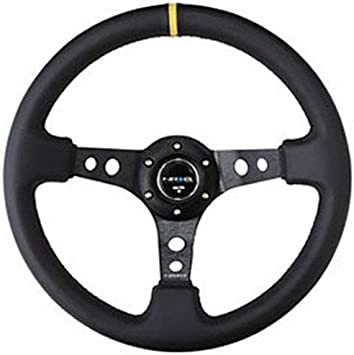 3 Deep Black Leather NRG Innovations ST-006R 350mm Sport Steering Wheel