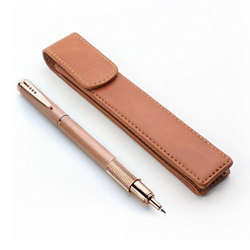 (Leather Pen Case Pouch Holder - Protective Single Sleeve for Pens, Brown)