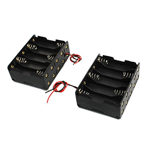 TOOGOO Plastic Battery Holder Case 10 x 1.5V AA (Black , Pack of 2) by SODIAL(R) (Image #2)
