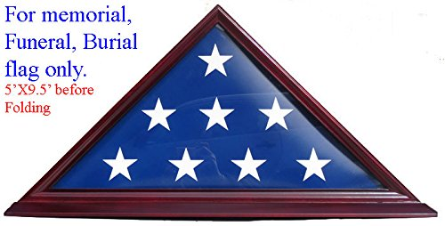 Real Cherry Wood Base - Flag Display Case - Cherry Finish, Veteran Memorial for 5' X 9.5' Flag FC06-CH