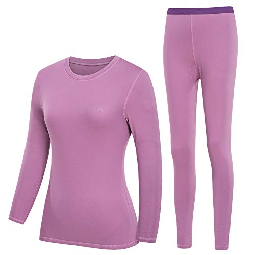 TFO Women's Winter Ultra Soft Thermal Underwear Sets Long Johns Base Layer Top & Bottom with Fleece Lined Violet (L)