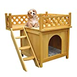 Puppy House Wooden Little Dog House Deluxe Pet Home Indoor/Outdoor Wood Cat House Shelter(Yellow)
