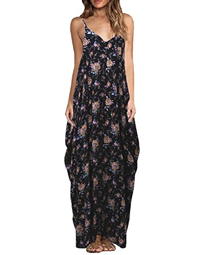 ZANZEA Women's Boho Floral Print V Neck Spaghetti Strap Long Maxi Dress Sundress Black(41018) L ()