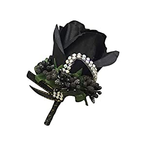 Cupcinu Wedding Rose Boutonniere Corsage for Groom Artificial Boutonniere Bouquet Perfect for Wedding Prom Party (Black) 80