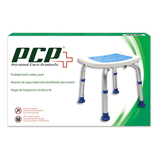 Pcp Bath Bench Shower Chair Safety Seat, Adjustable Height, Stability Grip Traction, Medical Grade Senior Living Spa Aid, Mobility Recovery Support, White/Blue by PCP (Image #3)