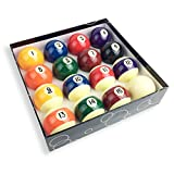 JAPER BEES Premium Standard Billiard Ball/Pool Ball Set,Complete 16balls, 2 1/4 inch Regulation Size&5.9OZ Weight, Resin Ball