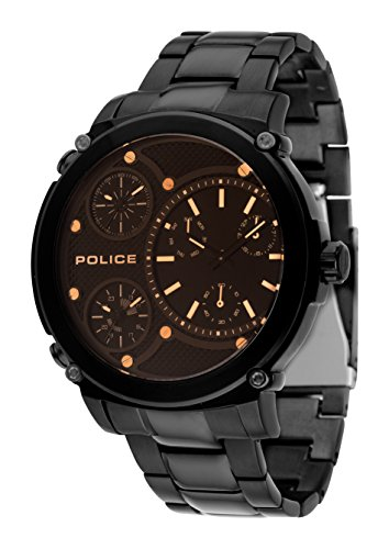 Police Men Watch TITAN PL.14830JSB/02M Dark Brown Lens and Black Case and Bracelet 52 mm