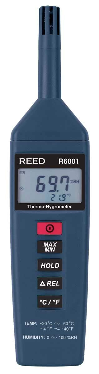 REED Instruments R6001 Thermo-Hygrometer, -4 to 140°F (-20 to 60°C), 0-100% RH
