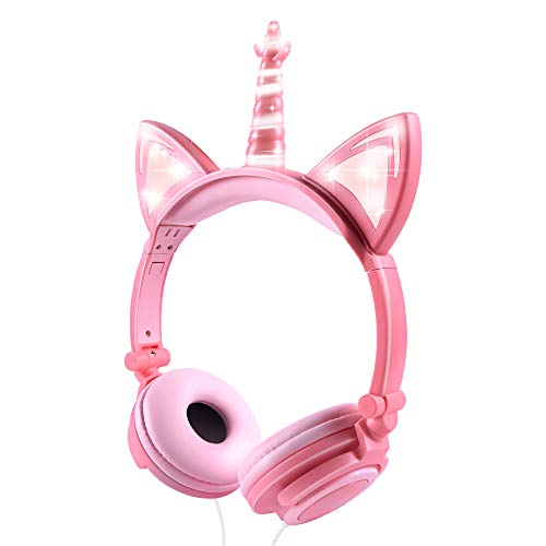 Isightguard Kids Headphones, Unicorn Headphones Wired Headphones,On Ear, Cat Ear Headphones with LED for Girls, 3.5mm Audio Jack for Cell Phone,Pink