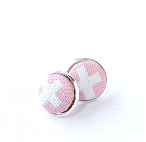 Simple Pink and White Post Earrings
