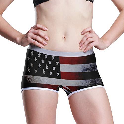 (Women's Regular & Plus Size Underwear,American Flag Red Stretch Boxer Briefs Boyshort Panties L)