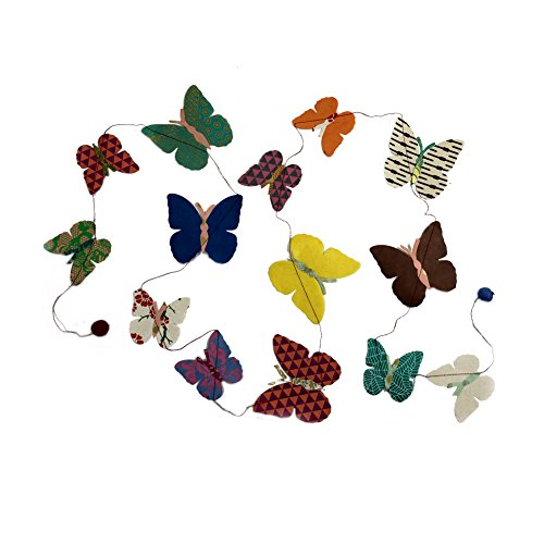 Fair Trade Eco Friendly Paper Butterfly Garland, Handcrafted in Nepal