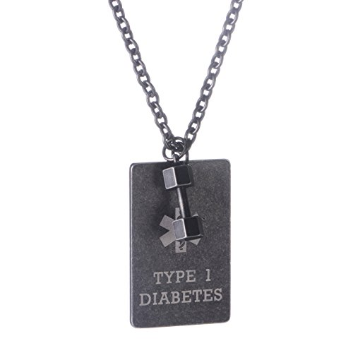 linnalove Antique Designed Gun Dog Tag Medical ID Alert Necklace for Men-Pre Engraving Type 1 Diabetes