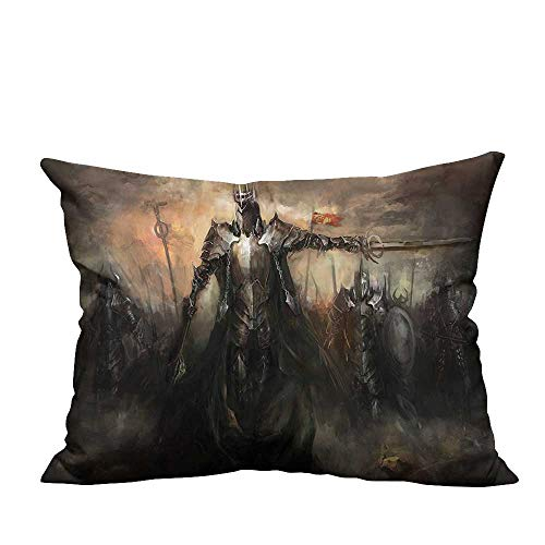 YouXianHome Pillow Case Cushion Cover General Leading His Army in War Medieval Armored Knight Kingdom Ancient Printing Dyeing (Double-Sided Printing) 12x16 inch ()