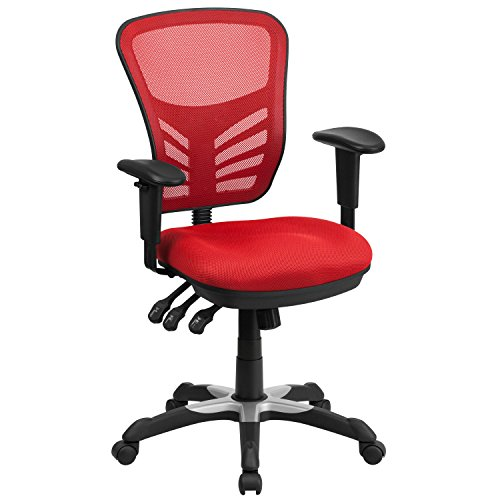 Flash Furniture Mid-Back Red Mesh Multifunction Executive Swivel Chair with Adjustable Arms (Chairs Kitchen Sale Red)