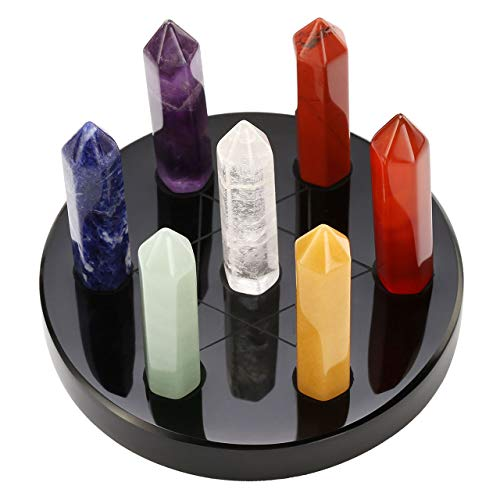 MANIFO 7 Chakra Gemstone Crystal Tumbled Single Point Obelisk Set on Black Obsidian Hexagram Stand Reiki Healing Crystals Authentic Stress Free Relaxation Appetizer Plate, 82x45mm