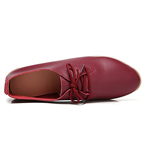Casual Red On Oxfords SCIEN up Lace Women's Shoes Loafers Wine Flat Slip wr0Pq4XPn