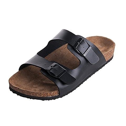 WTW Women's Arizona 2-Strap Sandals Cork Footbed with Synthetic Birko-Flor Upper Size 7 - Cork Platform Sandals