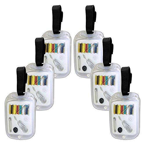 - Set of 6 - Luggage Tags With Sewing Kit, Emergency Mending, Travel Bag Suitcase Identification, Clear - #LT101.