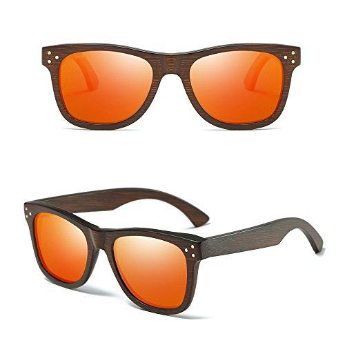 Gafas de Lentes de madera vintage modelo Rojo de los Gafas Gafas Gafas sol Polarizadas sol espejos Madera moda de anteojos de de hombres Sol de y KITHDIA Bambú de de wv7qT0xPnn