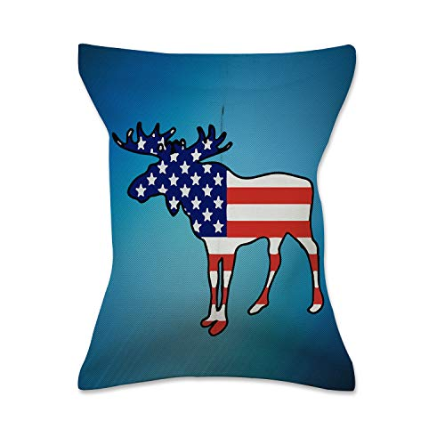 - XREE Car Tissue Box Home Tissue Holder Canvas Cloth Art Container for Paper Tissue Packs - Moose Silhouette with American Flag