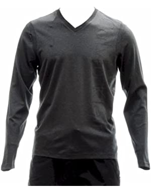 Calvin Klein Men's 40HK285 50's Interlock Logo Cotton Long Sleeve Shirt (Large, Gunmetal Heather)