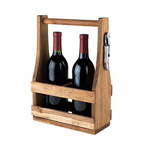 (Twine 5912 Country Home: Acacia Wood Wine Caddy Brown Set of 1)
