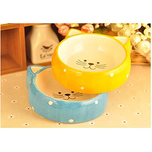 WuKong 2-packs Pet Gear Feeding & Watering Supplies Ceramics Bowls for Cats,Puppy (Yellow+Blue)