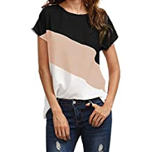 Big Promotion! Women Shirts WEUIE Women's Color Block Chiffon Short Sleeve Casual Blouse Shirts Tunic Tops