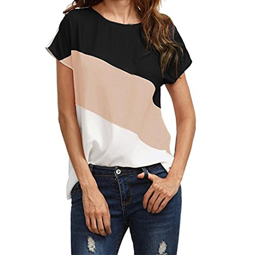 Big Promotion! Women Shirts WEUIE Women's Color Block Chiffon Short Sleeve Casual Blouse Shirts Tunic Tops (XL, Pink)
