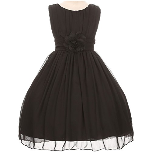 Ruched Little Black Dress (Little Girls Adorable Ruched Round Neck Yoryu Chiffon Flower Girl Dress Black - Size 6)